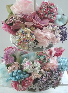 Millinery Flowers - Tiered basket, via Flickr.