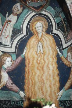 Magdalena ( assumpció de Maria Magdalena) Mural s.XV Chapelle de St. Erige,  Auron Cote D'Azur, France