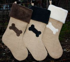 Dog Christmas Stocking Burlap and Bone