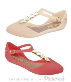 Cute Jelly Shoes! Mary Jane Style Jelly Flats with Gold Triangle Details! #adorbs