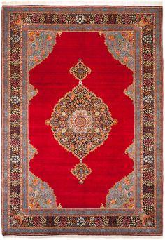 "Medallion Tabriz,  Red field,  Dark Blue border.  Size: 8'4"" x 11'10"". Origin: Persia (Iran). Approx Age: 90-100 yrs."