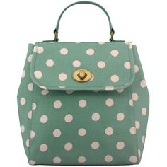 Cath Kidston Turnlock Backpack, Green Spot ($79) ❤ liked on Polyvore featuring bags, backpacks, spot bags, green backpack, polka dot bag, green bags and dot bag