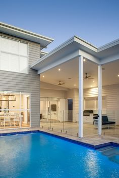Hamptons home design in Bulimba Brisbane - Design and Construct new home Builder Hamptons House, The Hamptons, Outdoor Pavilion, New Home Builders, Brisbane, Custom Homes, New Homes, Palette, Construction