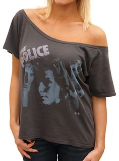 The Police Off the Shoulder Flirt Tee  $38.00  http://www.junkfoodclothing.com/webapp/wcs/stores/servlet/Product1_10052_10051_-1_24123_10552_20680