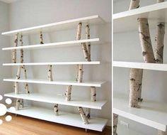 DIY tree branch shelving unit