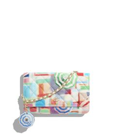 2f0630c5deb5 Printed Patent Calfskin   Gold-Tone Metal Multicolor Classic Wallet on  Chain