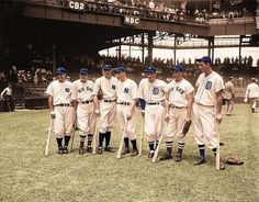 1937 AL all stars; Lou Gehrig, Joe Cronin, Bill Dickey, Joe DiMaggio, Charlie Gehringer, Jimmie Foxx and -- towering above all -- Hank Greenberg