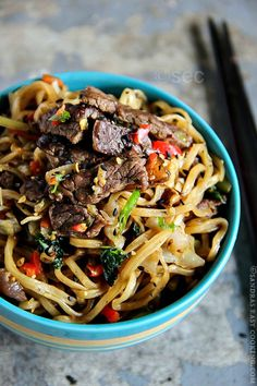 Beef Yakisoba - must have pink, pickled ginger with it, I LOVE that stuff!