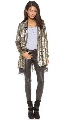 NWT Free People 'Stardust' Lace & Sequin Jacket $268 #FreePeople #StardustLaceSequinJacket