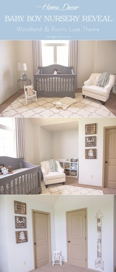Baby boy nursery with rustic luxe theme - can also be a gender neutral theme as well. Gorgeous rustic wall art with arrow growth chart from blogger at www.sengerson.com.