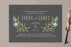 wedding invitation from Botanical Blooms Wedding Invitations by Kristie Kern at minted.com ... luv the folkloric look and colors of the flower groupings ... trendy deep gray card ... white, aqua and olive ink ...