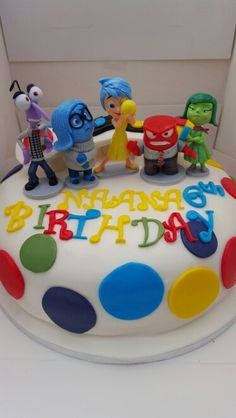 Inside Out Disney themed birthday cake