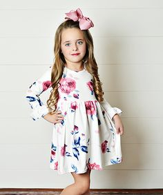 Take a look at this Cream & Pink Floral Babydoll Dress - Toddler & Girls today!