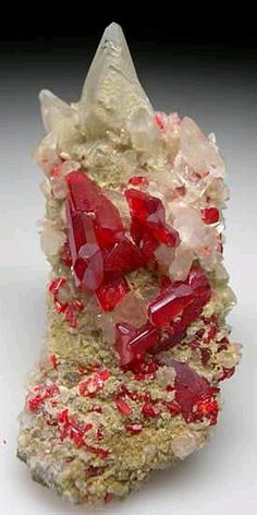 Realgar with Calcite, Shimen Realgar Mine, Hunan, China Cool Rocks, Beautiful Rocks, Minerals And Gemstones, Rocks And Minerals, Rocks And Gems, Stones And Crystals, Gem Stones, Organic Shapes, Rock Collection
