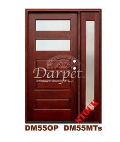 DM55MT2s 2 Lite Contemporary Mist Glass Exterior Wood Mahogany Door | Darpet Interior Doors for Chicago