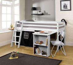 MID SLEEPER CABIN BED WITH DESK. Kids Mid sleeper Cabin Bed with a play Tent available in a range of designs. Features a pull-out desk and an angled or straight ladder that can be built to the left or right hand side. Cabin Bed With Desk, Bunk Bed With Desk, Safe Bunk Beds, Kids Bunk Beds, Bed For Girls Room, Kids Room, Box Bedroom, Bedroom Furniture, Mid Sleeper