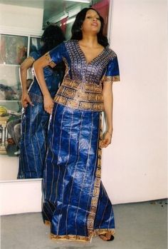 Custom made royal blue African bazin  attire by NewAfricanDesigns