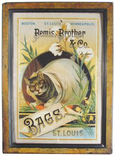 EXTREMELY RARE Bemis, Brother & Co. Bags Tin Sign, St. Louis. The F. Tuchfarber Co. Lithographer.