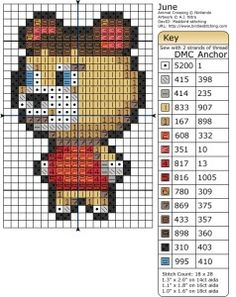Animal Crossing June Cross Stitch or Perler Bead Pattern