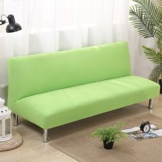 21.5USD Solid Color Armless Couch Sofa Covers For Home Decor Green  Universal Stretch Armless Sofa
