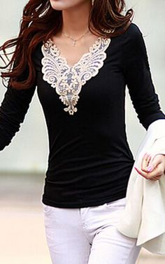 Charming Long Sleeve Lace Splicing Black T Shirt