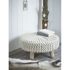 Cox & Cox Stool Chunky Knit | Prezola - The Wedding Gift List