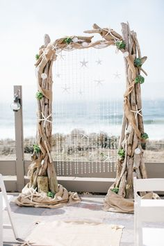 Beautiful arch for a beach wedding. If you want the best officiant for your Outer Banks, NC, ceremony, contact Rev. Barbara Mulford: myobxofficiant.com/