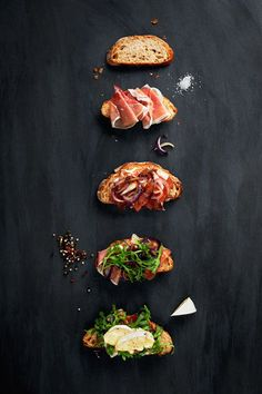 Open Faced Sandwich with Brie, Prosciutto, Caramelized Onion, & Arugula the art of cheese Food Design, Web Design, Bruschetta, Open Faced Sandwich, Little Lunch, Cooking Recipes, Healthy Recipes, Healthy Fats, Snacks Für Party
