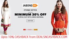 Ethnic wear kurtas, suit sets & dress material minimum 30% off Jabong + get upto 10% cashback from dealsncashback.com  http://www.dealsncashback.com/merchants/jabong
