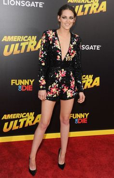 In Zuhair Murad at the American Ultra premiere in Los Angeles.   - ELLE.com