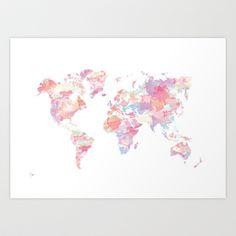 Watercolour World Map (pink) Art Print by Clover Chen - $18.00