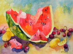 Summer Watermelon, Lemons and Grapes, painting by artist Kay Smith