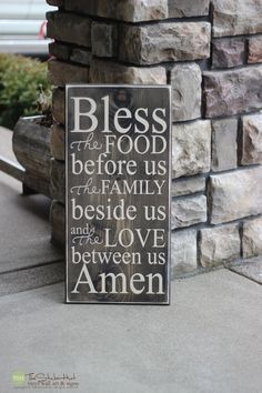 Bless the Food Before Us The Family Beside Us and The Love Between Us Amen - Wood Sign - Home Decor Quote Saying Distressed Wooden Sign S63