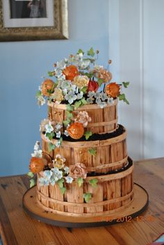 Bushel Basket of flowers Cake - Like the basket - could use for fruit or veggies also