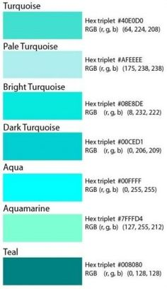 Code couleur hexadecimal pour le turquoise love them all Bedroom Color Schemes, Bedroom Paint Colors, Colour Schemes, Colour Palettes, Paint Decor, Teal Paint, Paint Colours, Aqua Color Palette, Paint Schemes