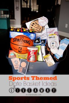 Silent Auction Basket - Sports theme We could use a basketball and have all the players sign it and write the year on it? This was a big hit at my highschool! Theme Baskets, Themed Gift Baskets, Diy Gift Baskets, Basket Gift, Fundraiser Baskets, Raffle Baskets, Valentines Day Baskets, Valentine Gifts, Homemade Gifts