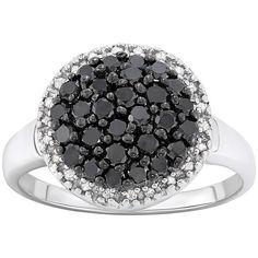 1 Carat T.W. Black and White Diamond Sterling Silver Frame Ring (€555) ❤ liked on Polyvore featuring jewelry, rings, black, diamond jewelry, diamond rings, black white diamond ring, sterling silver rings and black white ring