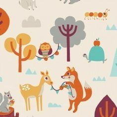 Camelot Festive Forest Baumwollstoff Tiere von Stoff-abc auf DaWanda.com