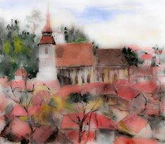 Old Town Art Print featuring the painting Old Town View by Cuiava Laurentiu Thing 1, All Print, Old Town, Fine Art America, Prints, Cities, Painting, Color, Image