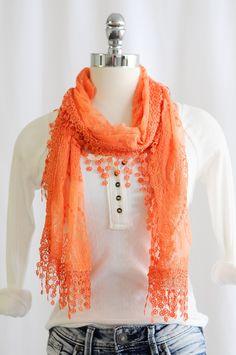 Rectangle Lace Scarf with Trim