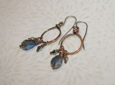 Copper Earrings, AB Faceted Crystal Drop Earrings, Midnight Blue, Handcrafted, Rustic, Artisan Hoops, Hypo Allergenic Earrings by WiredByTara on Etsy