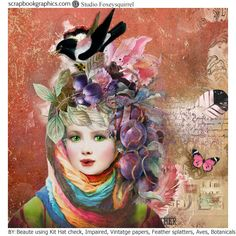 """Kits """"Hat Check"""", """"Impaired background"""", """"Vintage papers overlay"""", """"Feather splatters"""", """"Botanicals Flowers"""", """"Aves"""" by Foxeysquirrel  http://shop.scrapbookgraphics.com/foxeysquirrel/"""