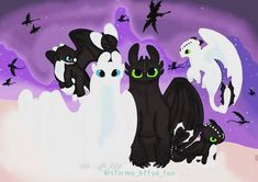 Toothless and Light Fury with their Night Light baby dragons as a happy family Httyd Dragons, Dreamworks Dragons, Cute Dragons, Disney And Dreamworks, Wings Of Fire, Dragon Wallpaper Iphone, Dragon Family, Dragon Series, Tmnt