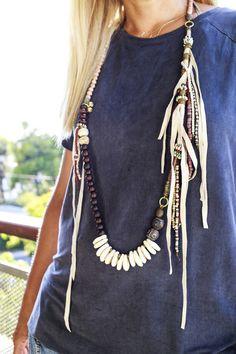 Boho EthnicHippie necklace bold statement by BeadStonenSkin