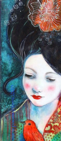 Tell Me Your Secrets Original mixed media by MariaPaceWynters,