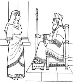 An LDS Primary coloring page from lds.org. Queen Esther with the KIng. #ldsprimary