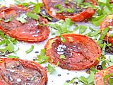 Try for roasted tomatoes like at the Leaky Cauldron. Roasted Tomatoes recipe from Ina Garten via Food Network Food Network Recipes, Cooking Recipes, Healthy Recipes, Cooking Tips, Vegetarian Recipes, Paula Deen, Ree Drummond, Side Dish Recipes, Vegetable Recipes