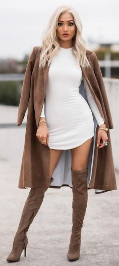 #Street #Fashion | Camel Coat, White Tee Dress, Camel Overknees |Micah Gianneli