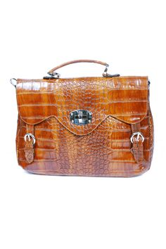 Satchel-style bag in Brown Leather.