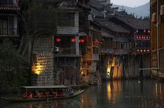 Fenghuang County (凤凰县), Hunan, China, is an exceptionally well-preserved ancient town.